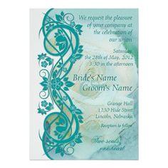 Elegant Scroll Wedding Invitation - Teal 2