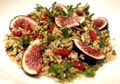 <p>This is a vegan Super Salad I created with organic seasonal ingredients like purslane and figs sourced from the local farmers market.</p>