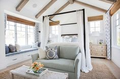 California Beach House with Coastal Interiors (Home Bunch - An Interior Design… Coastal Master Bedroom, Coastal Bedrooms, Coastal Living Rooms, Home Decor Bedroom, Bedroom Ideas, Master Bedrooms, Coastal Curtains, Bedroom Beach, Bedroom Pictures