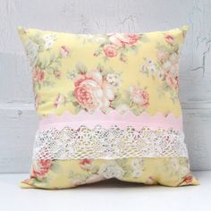 Decorative Throw Pillow Cottage Style Pink Roses by PondViewStudio, $29.00