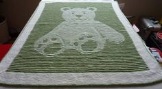 Where is the bear? Teddy bear illusion knit blanket, hat & booties - KNITTING