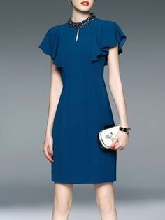 Blue Sheath Beaded Ruffled Sleeve Elegant Midi Dress