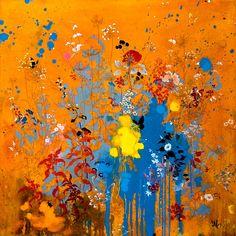 Henrik S. Simonsen, Summer Fire, 2010, 100x100 cm, Oil, graphite on canvas