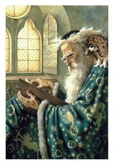 Merlin and Archimedes by Dennis Nolan Fantasy Kunst, Fantasy Art, Merlin, King Arthur Legend, Art Magique, Roi Arthur, Fantasy Wizard, Sword In The Stone, Gandalf