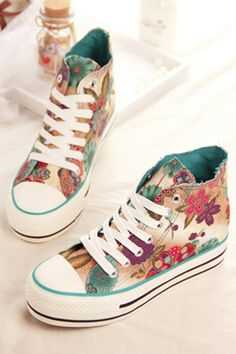 Street-chic Floral Wedge Sneakers - OASAP.com