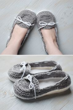 Free Crochet Pattern - Get the free pattern for these comfy and cute crochet boat slippers! Comfortable women's slippers {Pattern by Whistle and Ivy}