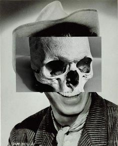 Could do alternating strips of photograph between skull and human John Stezaker - collage of human face with skeleton. This portrays the opposite idea of my exam theme which is 'growth and evolution'. Memento Mori, Collage Artists, Collages, Photomontage, John Stezaker, Eugenia Loli, Tattoo Foto, Image Digital, Gcse Art