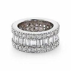 Diamond Anniversary Bands for Women   Women's Wedding Ring Baguette Round Diamond Eternity Band 14k White ...