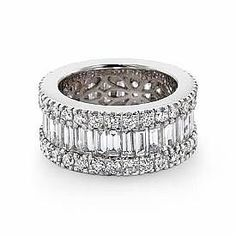 Diamond Anniversary Bands for Women | Women's Wedding Ring Baguette Round Diamond Eternity Band 14k White ...
