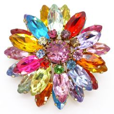 Vintage 1950s Lucite Rainbow Starburst Layered Gold Tone Brooch | Clarice Jewellery | Vintage Costume Jewellery