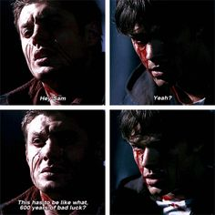 Bloody Mary [gifset]After breaking a bunch of mirrors - this explains everything. Sam And Dean Winchester, Winchester Brothers, Supernatural Funny, Supernatural Seasons, Beav, Super Natural, Bloody Mary, Destiel, Superwholock