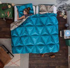 pościel origami niebieska 200x 220cm z wysokiej jakości bawełny perkalowej