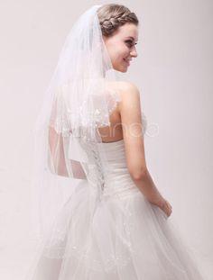 Charming Two Tier Drop Net Rhinestone Ivory Bridal Wedding Elbow Veil
