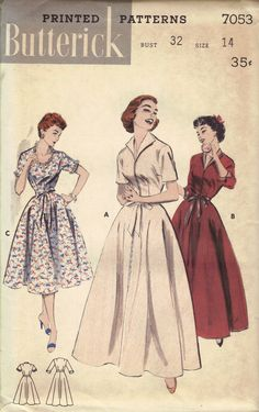 1950s Swing Era Circle Skirt Dress Brunch Coat Robe Butterick Sewing Pattern Day Evening Length Winged Collar Zipper Front Uncut FF Bust 32. $18.50, via Etsy.