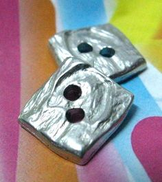 Shiny Metal Buttons  Set 10 Silver Wrinkle Surface by Lyanwood, $5.00