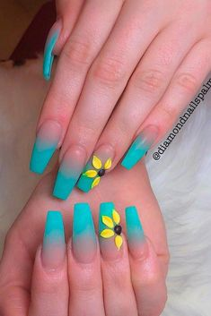 57 Special Summer Nail Designs For Exceptional Look Matte Blue Ombre Nail Art ★ Easy, cute and fun summer nail designs are waiting for you to get inspired with. Make sure that you greet the beach season right! Bright Summer Acrylic Nails, Best Acrylic Nails, Summer Nails, Gorgeous Nails, Pretty Nails, Blue Ombre Nails, Sunflower Nails, Dream Nails, French Nails
