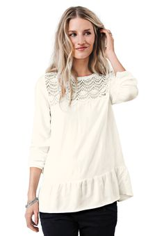"""Crochet trim details the scoop neckline of this blouse. Long sleeves with adjustable sleeve bands and vent. Flounce peplum bottom hem.Fabric: 100% rayonMachine wash coldImportedMeasurementsLength: Below hip28"""", center back"""