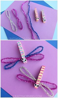 Clothespin Dragonfly crafts for kids! Use pipe cleaners for a spring art project | http://CraftyMorning.com