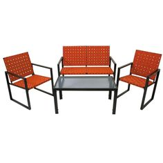 Perfect for your porch, deck or patio, this stylish outdoor patio set includes two metro weave arm chairs, a loveseat for two, and a rectangular, glass-topped table.