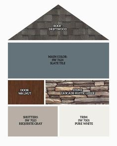 Roof: Driftwood, Main Exterior Color: SW 7624 Slate Tile, Front Door/Garage Doors: Walnut finish, Stone: Cascade Rustic Ledge, Shutter… in 2020