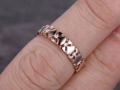 3/4 Eternity Diamond Wedding Band Mens Wedding Ring solid 14K rose gold | BBBGEM #mensdiamondweddingbands