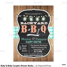 baby q invitation coed bbq baby shower rustic wood | house, rustik, Baby shower invitations