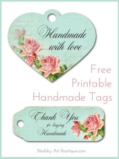 Free Printable Handmade Tags to print off and make your own tags for gift giving and for selling handmade items. Shabby Art Boutique