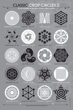 20 pictograms of classic crop circles. [link] and the Classic Crop Circles 2 poster. Circle Geometry, Circle Art, Magic Circle, Circle Design, Sacred Geometry Symbols, Nature Tattoos, Space Tattoos, Alchemy Symbols, Sketch Tattoo Design