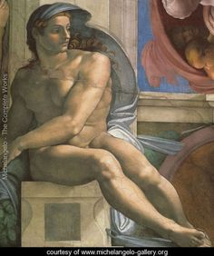 Ceiling of the Sistine Chapel: Ignudi, next to Separation of Land and the Persian Sybil [left] - Michelangelo Buonarroti - www.michelangelo-gallery.org