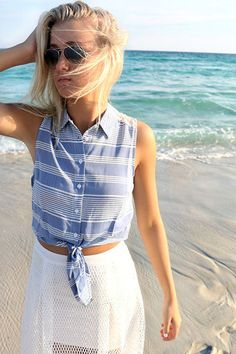 e86e52c89593 Laguna Beach Sleeveless Striped Lace Detail Tie Blouse Tie Blouse