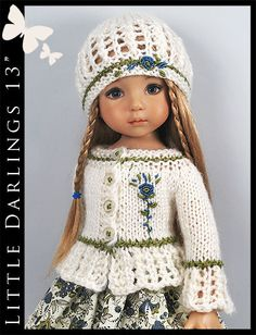 """OOAK Off White Outfit for Little Darlings Effner 13"""" by Maggie & Kate Create"""