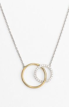 Bony Levy 'Eclipse' Two-Tone Diamond Circle Pendant Necklace (Nordstrom Exclusive)
