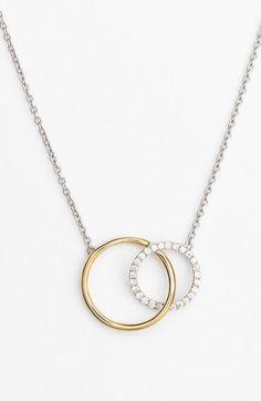 Bony Levy 'Eclipse' Two-Tone Diamond Circle Pendant Necklace (Nordstrom Exclusive)