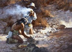 The Apache Fire Makers by award winning contemporary western artist Howard Terpning is a highly sought-after limited edition print produced by The Greenwich Workshop Inc. American Indian Art, Native American Art, American Indians, American Symbols, American History, Native American Paintings, Indian Paintings, Native Indian, Native Art