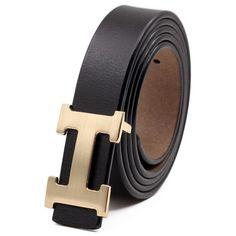 4e3bdce92 Leather Black Gold Belt H Metal Steel Slide Buckle Adjustable Men #fashion # clothing #