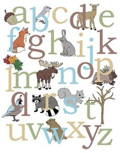 Animals + the Alphabet = Perfection!  ABC print is perfect as nursery decor and doubles as a learning tool as the child gets older. Nursery print features woodland animals such as moose, fox, deer, raccoon and more.Perfect way to bring a touch of nature inside! Matching numberposter. Also available is thealphabet & number set.