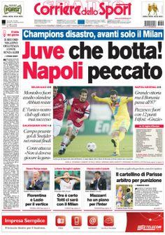 La #PRIMAPAGINA di oggi: #Champions disastro, avanti solo il #Milan. #Juve che botta! #Napoli peccato.