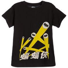 Little Eleven Paris Black Cotton Jersey 'Batman' T-Shirt at Childrensalon.com
