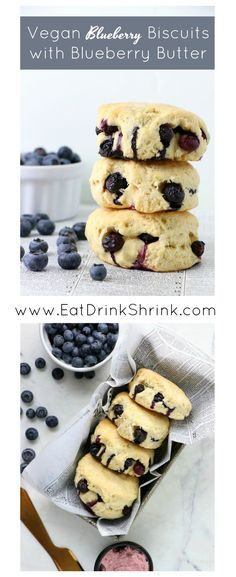 Vegan Blueberry Biscuits with Blueberry Butter - Eat. Blueberry Jelly, Vegan Blueberry, Vegan Sweets, Vegan Desserts, Vegan Food, Good Healthy Recipes, Whole Food Recipes, Vegetarian Recipes, Vegan Butter