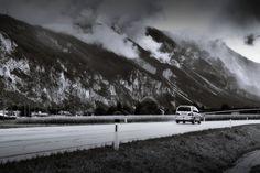 bwstock.photography  //  #rainy #Tyrol #car #road Black White Photos, Black And White, Free Black, Public Domain, Documentary, Car, Photography, Outdoor, Outdoors