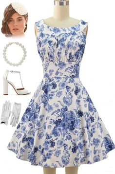 Just restocked at Le Bomb Shop! Blue Floral, Round neck, sleeveless, full skirt, sun dress... can be dressed up or down. Available in other prints.. find them all here for $42 with FREE U.S. s/h: http://lebombshop.net/search?type=productq=%22garden+party+glamour+dress%22search-button.x=0search-button.y=0