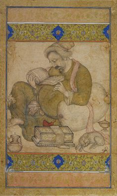 """""""A Learned Man"""" attributed to Basawan based on the nim-qalam technique that he used in imitation of the grisaille manner of European engravings. Mughal Miniature Paintings, Mughal Paintings, Indian Paintings, Love Painting, Painting Prints, Indian Art Gallery, Iranian Art, India Art, Painting Patterns"""