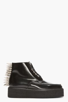 UNDERGROUND Black spiked Leather Pointed Croc Creeper boots