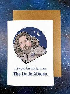 """This Red Swan Greeting Card reads """"It's your birthday, man. The Dude Abides"""". Original art by Tate Krupa. - 5"""" tall x 7"""" wide when folded - Kraft Envelope, self adhesive - Packaged in Cello Sleeve - Handmade Digitally printed on 100lb 5x7 cardstock. All cards are blank inside. Envelope included. Personalization is available! Birthday Greeting Cards, Birthday Greetings, It's Your Birthday, Card Reading, Kraft Envelopes, Brand You, Original Art, Cello"""