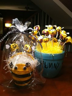 Bumblebee cake pops for Winnie the Pooh birthday party! Place your orders at madsmerce@gmail.com