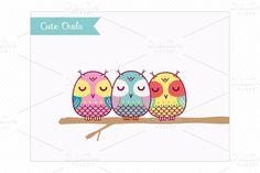 Clip Art-Cute Owls ~ Illustrations on Creative Market