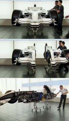 I prize my hard-won skill, from all the bridal showers I worked in my restaurant days, to cut a cake perfectly in half. But the guys at the Sauber Formula One racing team have vivisected a decidedly more complicated object: One of their F1 cars, which reportedly took them two...