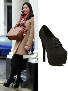 Olivia Munn Lace-Up Black Platform Heeled Shoes