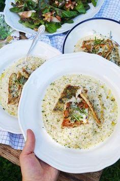 Schön schlotzig muss es sein! Parmesan-Zitronen-Risotto mit gebratenem Zander und Birnen-Pekannuss-Salat