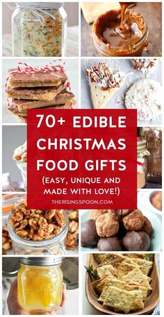 Need ideas of for easy homemade food gifts that you can give to friends family & co-workers for Christmas and other holidays? Check out my hand-curated list for all kinds of ideas: sweet savory make-ahead last-minute in a jar in cellophane bags indul. Homemade Food Gifts, Diy Food Gifts, Edible Gifts, Real Food Recipes, Great Recipes, Cooking Recipes, Drink Recipes, Recipe Ideas, Cooking Tips